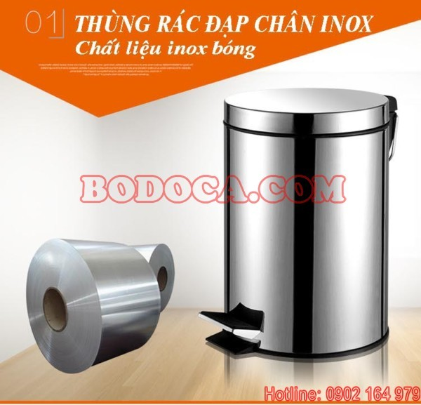 Thung rac inox dap chan 41